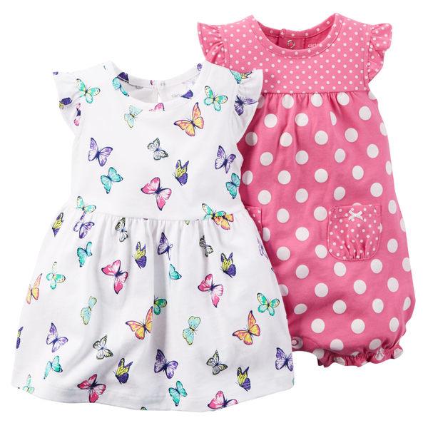 【美國Carter's】套裝二件組 - 彩蝶短袖純棉洋裝+點點連身衣 121G477
