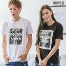 Cherry e購【K7736】潮男,立體印花方框短袖棉T_3色