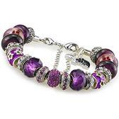 串珠手鍊 925純銀-琉璃水晶飾品紫色鑲鑽生日情人節禮物女配件73ay72【時尚巴黎】