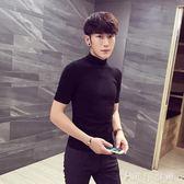 半高領打底毛衣 男士短袖針織衫 韓版潮流學生T恤個性線衣 伊鞋本鋪