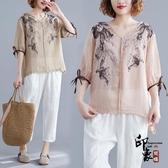 民族風大尺碼女裝 薄款中袖亞麻襯衫 V領復古寬鬆棉麻上衣女