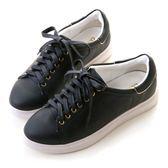 amai《隨時都想長高》可拆式內增高純色休閒鞋 深藍