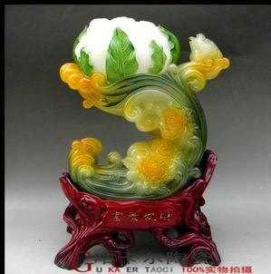 樹脂工藝品 玉擺件(富貴發財)仿玉花菜