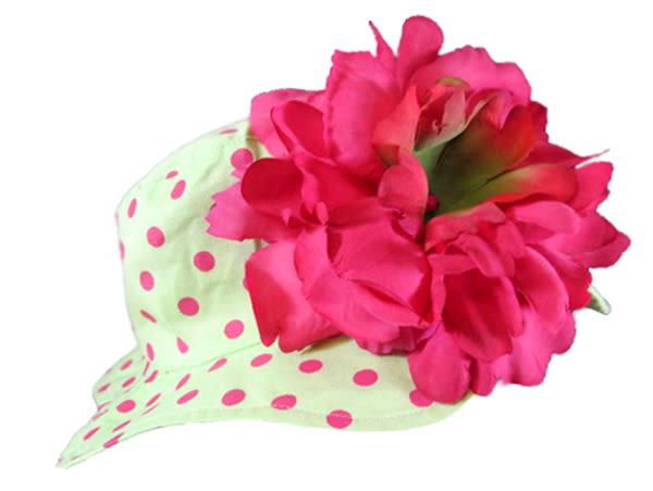 嬰幼兒防曬遮陽帽: 牡丹: 覆盆子色淺綠點底: Jamie-0204