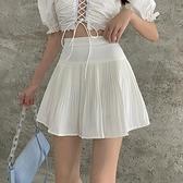 百褶裙女夏季高腰顯瘦百搭A字裙2021新款半身裙白色短裙雪紡裙子 幸福第一站