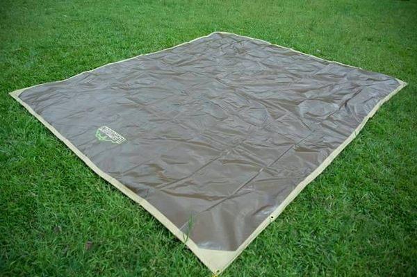 LOWDEN 300*300-超耐磨夾層網布防潮地墊/野餐墊(多功能地布)+附收納袋((大地色)露營 地墊 地布