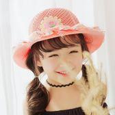 可愛中小童春夏兒童草帽太陽帽女夏遮陽帽2 3 5 7歲防曬『櫻花小屋』