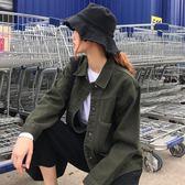 秋季韓版新款寬鬆休閒外衣學生百搭復古口袋牛仔衣短外套女裝