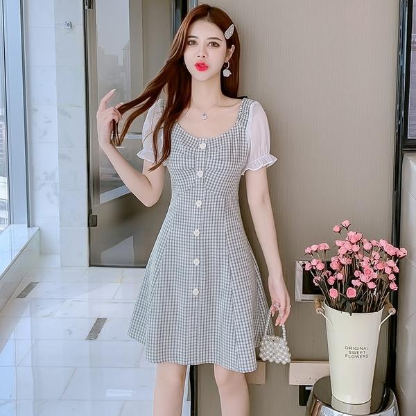 VK精品服飾 韓系雪紡燈籠袖拼接格紋單排釦收腰短袖洋裝