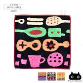 日本毛巾-療癒系俁野溫子兔子刺繡小方巾-午茶圖案/黑色-玄衣美舖