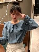 學院風長袖 2019秋季新款韓版寬鬆學院風娃娃領上衣法式甜美長袖襯衫女學生 小天後