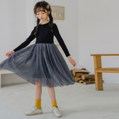 女童薄棉絨黑色拼接深灰紗裙洋裝 中長過膝 連身裙 洋裝 親子裝 大童 女童 橘魔法