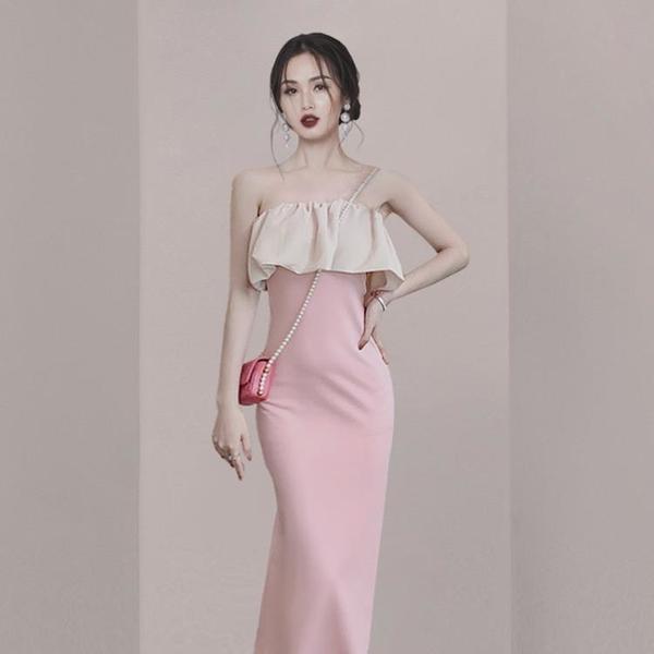 洋裝高端法式洋裝小晚禮服裙女宴會氣質名媛輕奢粉色性感抹胸連衣裙夏