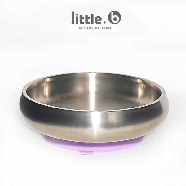 little.b 316不鏽鋼餐具系列 雙層不鏽鋼寬口麥片吸盤碗-夢幻紫[衛立兒生活館]