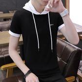 伊索頓夏季簡約連帽短袖T恤2018新款時尚拼色修身男生半袖衣服【全館免運可批發】