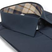 【金‧安德森】經典格紋繞領黑扣黑色窄版長袖襯衫