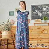 【Tiara Tiara】百貨同步  繽紛繁花圓領後釦式背心洋裝(藍/黃)