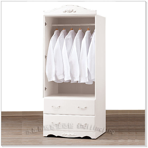 【水晶晶家具/傢俱首選】卡蜜拉2.7*6.5呎古典烤白雙抽衣櫃﹝單只﹞ZX8175-8