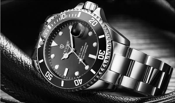 Tevise-黑鋼帶黑水鬼 特威斯手錶水鬼系列Tevise男錶女錶 中性錶對錶 3ATM生活防水 時尚手錶
