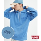 Levis 男款 口袋帽T / 全一色刺繡Serif Logo / 寬鬆落肩設計 / 水藍洗舊