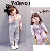 秋裝套裝0一1-2-3歲韓版潮嬰兒童裝洋氣女童背帶褲兩件套麥吉良品