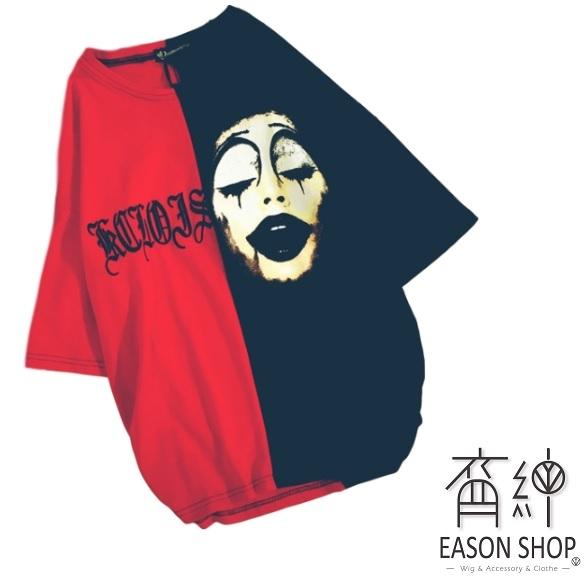 EASON SHOP(GW0461)韓版撞色拼接小丑字母印花薄款長版圓領短袖T恤女上衣服落肩寬鬆內搭衫顯瘦棉T恤