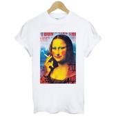 Mona Lisa-Ciggi短袖T恤 白色 蒙娜麗莎抽菸趣味幽默諷刺街頭插畫潮流t-shirt $390 Gildan