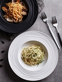 北歐風格陶瓷盤湯盤 家用大號創意盤子 黑白色西餐