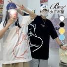 情侶短T恤 韓版卡通半臉印花大尺碼五分袖短袖上衣【NQ921036】