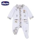 chicco- 皇家小象-有領格紋剪接前開長袖兔裝