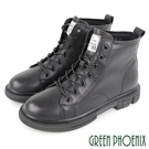 U11-26816 女款全真皮短靴 正韓素面俐落風套入式短筒軍靴/短靴/馬丁靴【GREEN PHOENIX】
