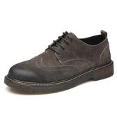 真皮工裝靴馬丁鞋男士低筒潮韓版休閒內增高男鞋子英倫布洛克皮鞋