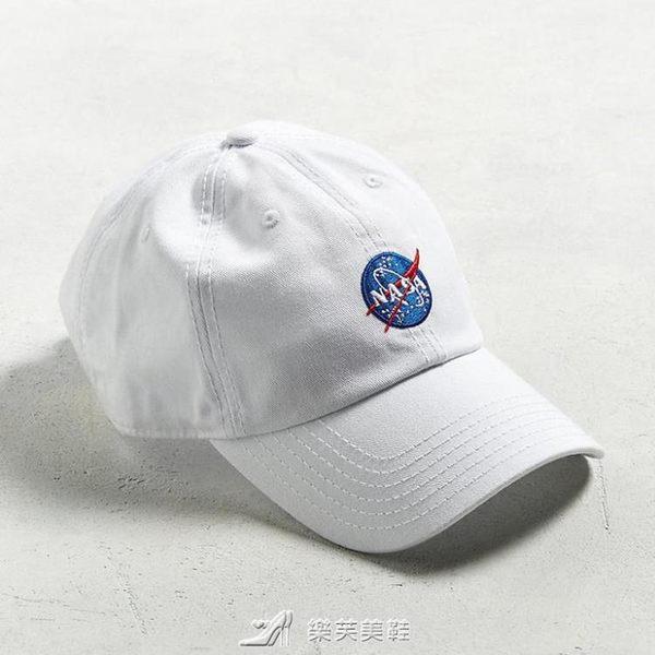 歐美潮牌NASA個性白色百搭刺繡軟頂鴨舌帽男女夏天彎檐棒球帽子 樂芙美鞋