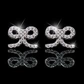 耳環 925純銀 鑲鑽-氣質蝴蝶結生日情人節禮物女飾品2色73hz40【時尚巴黎】