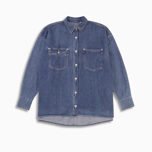 Levis Red 工裝手稿風復刻再造 女款 牛仔襯衫外套 / Oversize寬鬆版型 / 中藍水洗 / 寒麻纖維