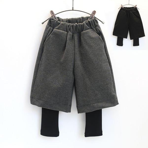 毛尼假兩件式寬褲內搭褲 長褲 中性款 兒童長褲 褲子 女童 男童 橘魔法 現貨 童裝