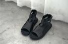 找到自己 MD 日系 時尚 潮 男 高品質 頭層牛皮 露趾 魔術貼 高筒 鏤空 羅馬涼鞋