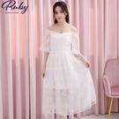 洋裝 一字領刺繡鉤花仙女短袖長洋裝-Ruby s 露比午茶