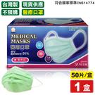 南六 醫療用平面口罩(成人)(蘋果綠)-...