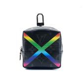 【台中米蘭站】全新品 Louis Vuitton 限量 BOX POUCH 彩虹 吊飾拉鍊零錢包 (MP2467-黑)