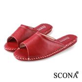 SCONA 蘇格南 全真皮 手縫舒適室內鞋(女) 紅紋 9998-9