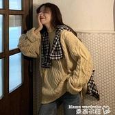 毛衣 秋冬季新款2021年外穿寬鬆韓版針織上衣女復古慵懶風套頭毛衣外套 交換禮物 曼慕
