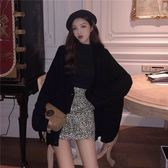 韓版寬鬆毛衣女春秋裝新款chic上衣復古長袖針織開衫寬鬆休閒外套 衣櫥秘密