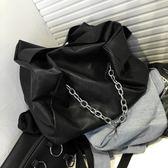 鍊條包歐美大牌個性包包休閒包女品質暗黑系大容量購物袋鍊條側背斜背包 美物居家