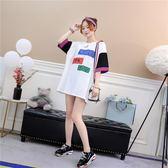 韓版百搭短袖T恤女中長款寬鬆學生上衣