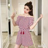 連身褲裙裝 夏季新款小清新時尚氣質套裝流蘇系帶一字領印花短袖女 rj376【甜心小妮童裝】