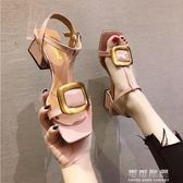 粗跟涼鞋女夏仙女風一字扣帶高跟鞋中跟學生韓國百搭少女 流行花園