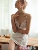 性感睡衣 水溶浮花性感睡衣女誘惑冰絲吊帶睡裙薄款蕾絲短裙家居服秋冬 愛麗絲 夏季新品