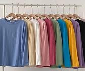 T恤長袖 純色T恤2021年新款女裝韓版ins寬鬆休閒圓領長袖春打底衫上衣潮【快速出貨八折鉅惠】