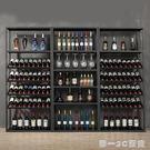 復古歐式鐵藝酒架酒吧落地酒櫃葡萄酒紅酒收...